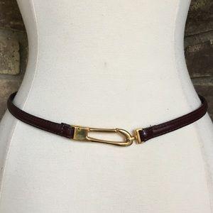 Vintage Belt Women's Leather Skinny XS Gold Buckle